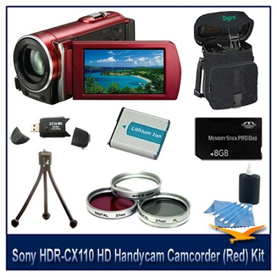 HDR-CX110 HD Handycam Camcorder (Red)With  8GB Memory  card, Battery, and more