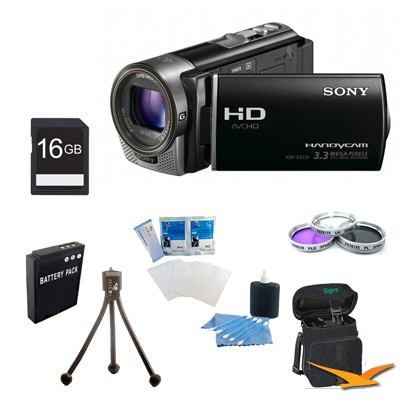 HDR-CX130 Handycam Full HD Black Camcorder w/ 30x Optical Zoom Ultimate Bundle