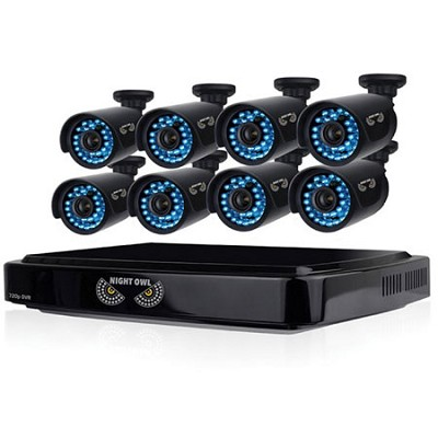 HD 720p 8 Channel AHD Security System, 8x720p Cameras, 100ft Night Vision