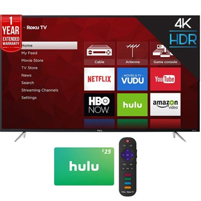 65 UHD Dual Band Roku Smart LED TV +$25 Hulu Gift Card +1 Year Extended Warranty