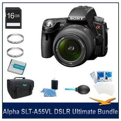 Alpha SLT-A55 DSLR Kit w/ Sony 18-55mm Lens Ultimate Bundle