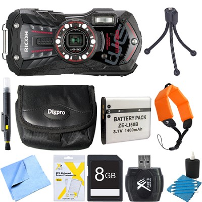 WG-30 16 MP Waterproof Digital Camera with 3-Inch LCD Ebony Black 8GB Bundle