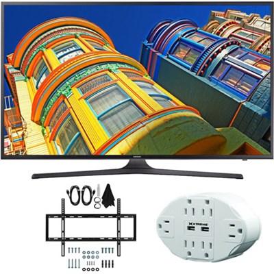 UN55KU6290 55` Class 6-Series 4K Ultra HD Smart LED TV w/ Flat Wall Mount Bundle