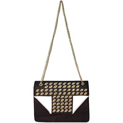 Megan Studded Sequin Handbag with Flap (White) - MEGAN-WHT