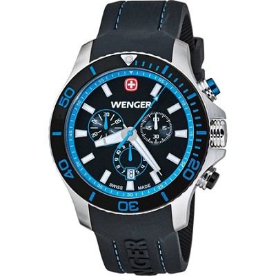 Men's Sea Force Chrono Watch - Black and Blue Dial/Black Silicone Strap
