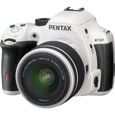 K-50 White w/ 18-55mm Lens 16MP Digital SLR Camera Kit
