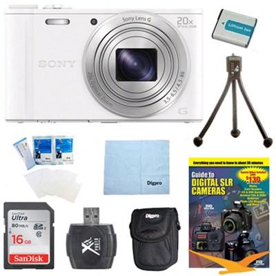 Cyber-shot DSC-WX350 Digital Camera White 16GB Kit
