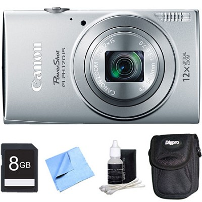 PowerShot ELPH 170 IS 20MP 12x Opt Zoom Digital Camera - Silver 8 GB Bundle
