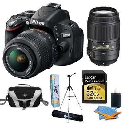 D5100 DX-format Digital SLR Body w/18-55mm VR Lens and 55-300mm Ultimate Package