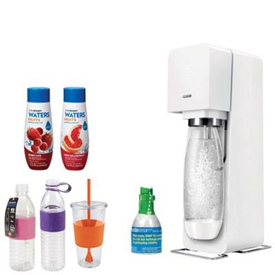 Source Home Soda Maker Starter Kit, White with Bundle