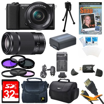a5100 Mirrorless Camera w/ 16-50mm and SEL 55-210 Lenses 32GB Black Bundle