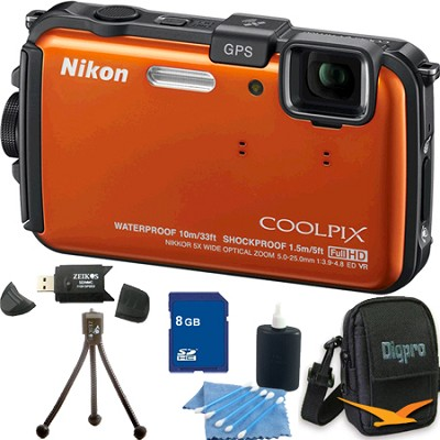 COOLPIX AW100 16MP Waterproof Shockproof Freezeproof Orange Camera 8GB Bundle