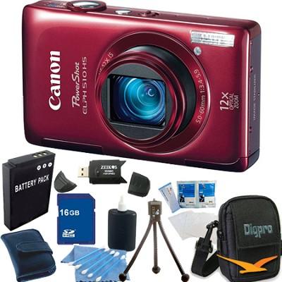 PowerShot ELPH 510 HS Red Digital Camera 16GB Bundle