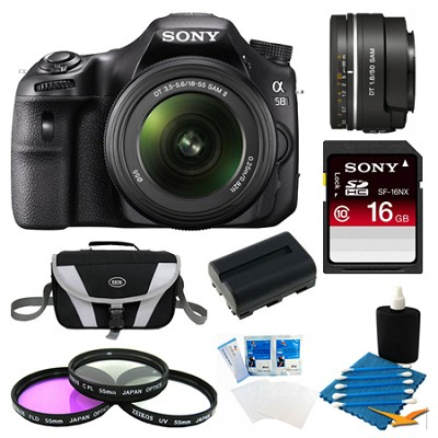 Alpha SLT-A58K Digital SLR Camera 16 GB 50mm Lens Bundle