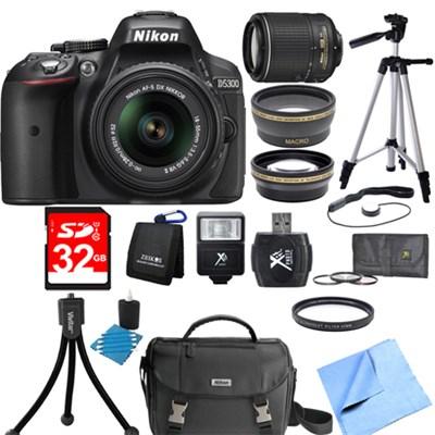 D5300 DX-Format Digital SLR Black with 18-55mm + 55-200mm VR II Lens Bundle