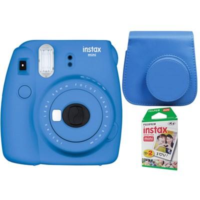 Instax Mini 9 Instant Camera in Cobalt Blue w/ Case + 20-Sheets Instant Film