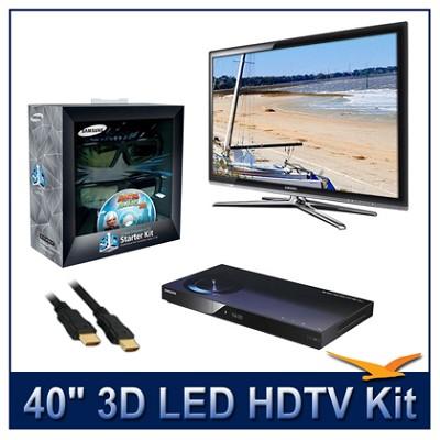 UN40C7000 - 40` 3D 1080p 240Hz LED HDTV Kit w/ 3D Glasses & Blu-Ray Player