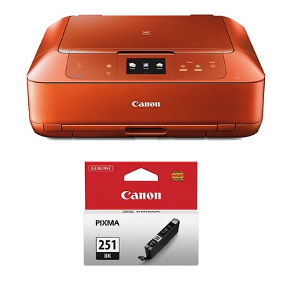 PIXMA MG7520 Color Wireless All-in-One Inkjet Orange Printer Black Ink Bundle