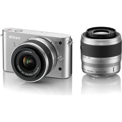 1 J1 SLR Silver Digital Camera w/ 10-30mm & 30-110mm VR Lenses