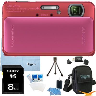 Cyber-shot DSC-TX20 16.2 MP Waterproof Shockproof Camera (Pink) 8GB Bundle