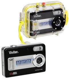 5188 - ViviCam 5.1 MP Digital Camera (Blk) + Waterproof Case up to 45 Feet deep
