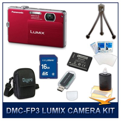 DMC-FP3R LUMIX 14.1 MP Digital Camera (Red), 16GB SD Card, and Camera Case