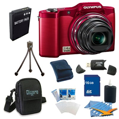 16 GB Kit SZ-12 14MP 3.0 LCD 24x Opt Zoom Digital Camera - Red