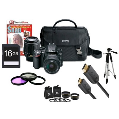 D3200 24MP DSLR Camera + 18-55mm & 55-200mm Lenses Extreme Accessory Bundle