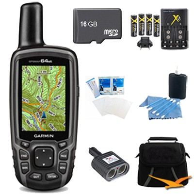 GPSMAP 64st Worldwide Handheld GPS BirdsEye Canada Maps 16GB Accessory Bundle