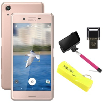 Xperia X Performance 32GB 5` Smartphone Unlocked Mobile Selfie Bundle, Rose Gold