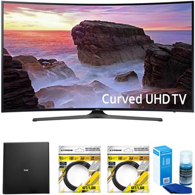 Curved 55` 4K Ultra HD Smart LED TV 2017 Model with Antenna Bundle