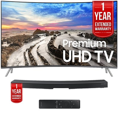 UN65MU8500FXZA 64.5` Curved 4K Smart LED TV 2017 w/ Soundbar + Extended Warranty