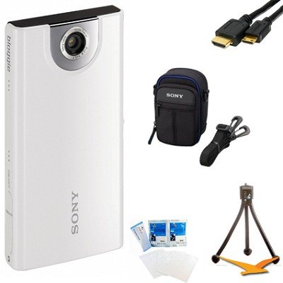 MHS-FS1 Bloggie Pocket HD 4GB White Camera Camcorder w/ 5MP stills Bundle