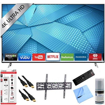M43-C1 - 43-Inch 120Hz 4K Ultra HD LED Smart HDTV Tilt Mount & Hook-Up Bundle