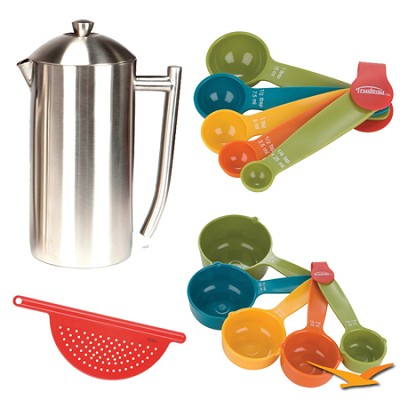 French Press, Brushed Stainless Steel  36 oz Bundle