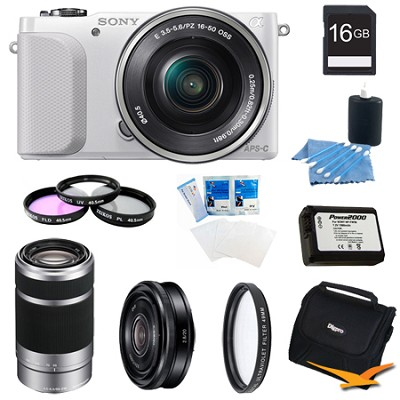 NEX-3NL White Digital Camera 16-50mm Lens 16GB 55-210mm, 20mm f/2.8  Lens Bundle
