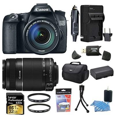 EOS 70D 20.2 MP CMOS Digital SLR Camera  18-135mm And 55-250IS STM 32GB Bundle