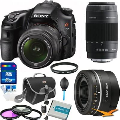 Alpha SLT-A57K 16.1 MP Digital SLR Kit w/ 18-55, 75-300, 50mm f1.8 Lens Bundle
