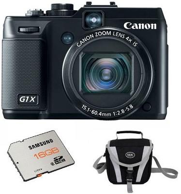 PowerShot G1X 14.3 MP Digital Camera with 1080p Full HD Video Bundle