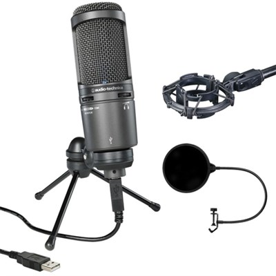 Deluxe USB Cardioid Condenser Microphone AT2020USB+ w/ Shock Mount Bundle