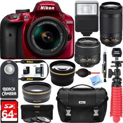 D3400 DSLR Camera w/ AF-P DX 18-55mm & 70-300mm VR Lens Accessory Bundle (Red)