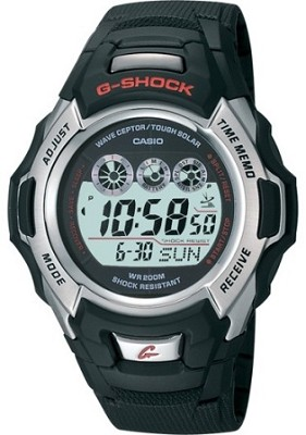 GW500A-1V - Men's G-Shock Atomic Tough Solar  Black Resin, Silver Bezel
