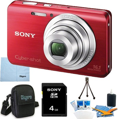 Cyber-shot DSC-W650 Red 4GB Digital Camera Bundle