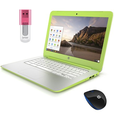 14 inch HD Sleek Chromebook PC with Mouse and 8GB Jumpdrive Bundle - Neon Green