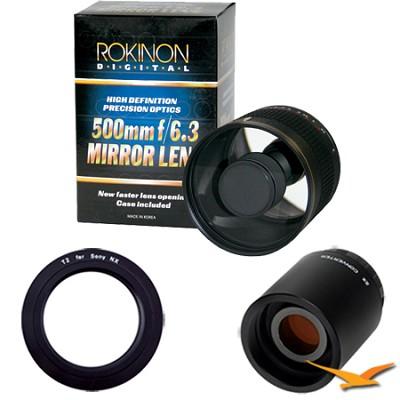 500mm F6.3 Mirror Lens for Sony E-Mount (NEX) and 2x Multiplier (Black) ED500M-B