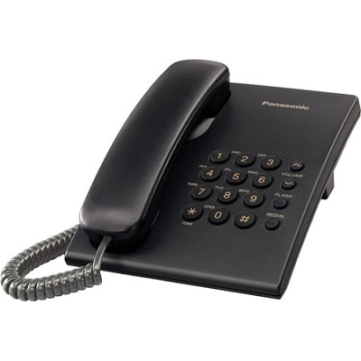 KX-TS500B Integrated Telephone with 6-Step Electronic Handset Volume Control, Bl