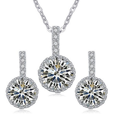 White Gold Rhodium Cubic Zirconia White Sapphire Jewelry Set