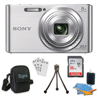 DSC-W830 Cyber-shot Silver Digital Camera 8GB Bundle