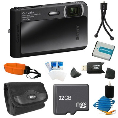 DSC-TX30/B Black Digital Camera 32GB Bundle