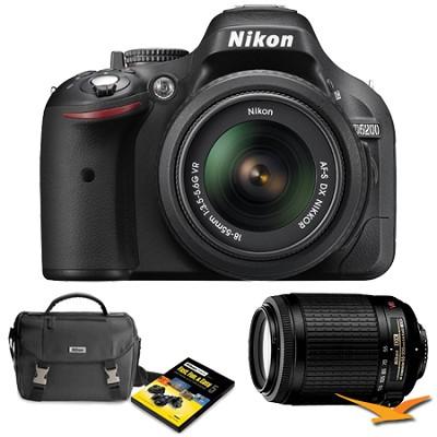 D5200 24.1 MP DSLR Camera Black 18-55mm VR & 55-200 VR Lens Holiday Gift Bundle